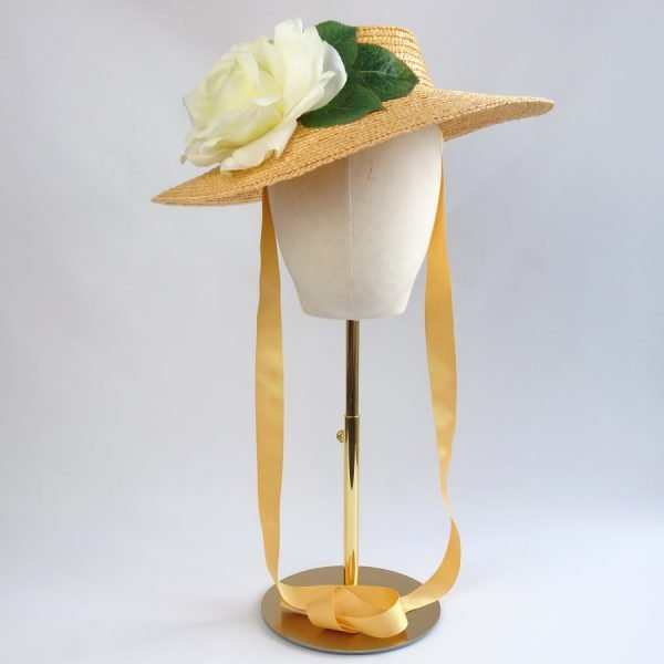 Summer Race Day Hat in Yellow with a Detachable Ivory Rose