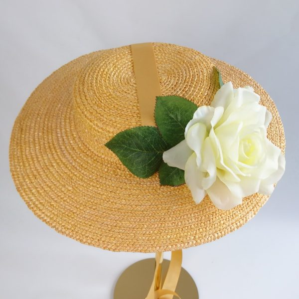 Wedding Hats for Guests in Yellow with a Detachable Ivory Rose