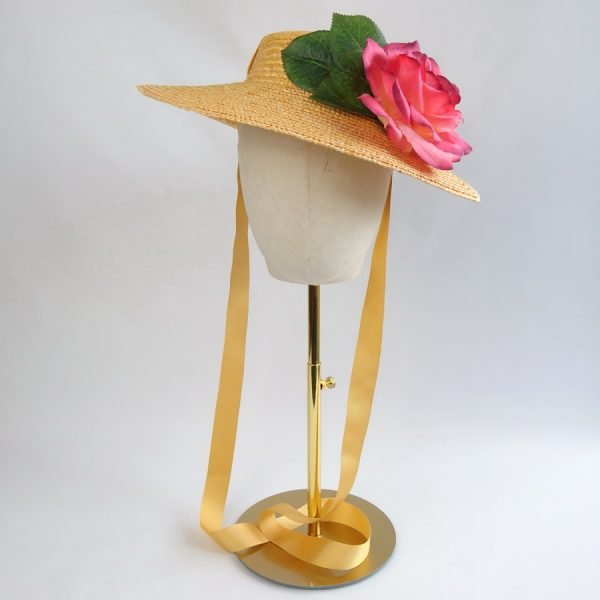 Summer Casual Hat in Yellow with a Detachable Pink Rose