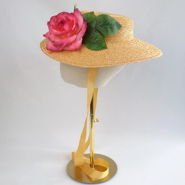 Summer Race Day Hat in Yellow with a Detachable Pink Rose