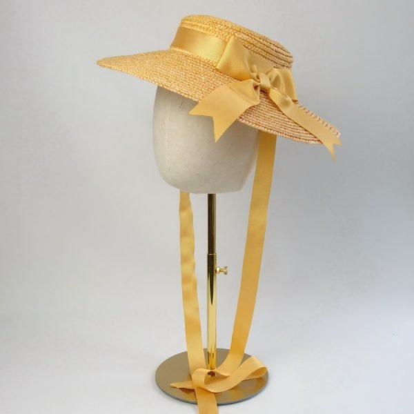 Summer Casual Hat in Yellow with a Detachable Yellow Ribbon Bow
