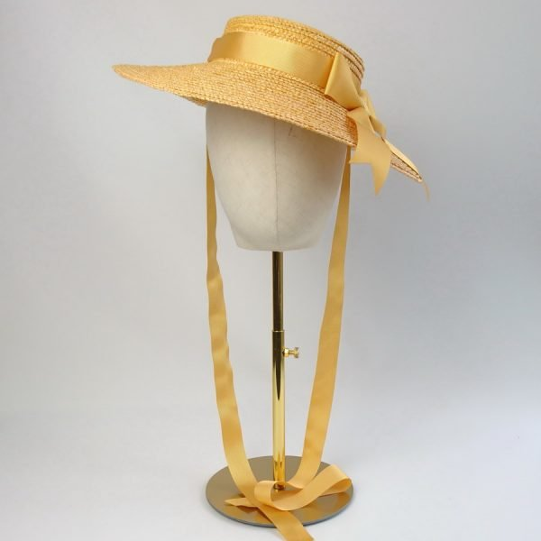 Wedding Hats for Guests in Yellow with a Detachable Yellow Ribbon Bow