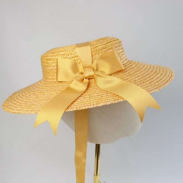 Summer Wedding Hat in Yellow with a Detachable Yellow Ribbon Bow