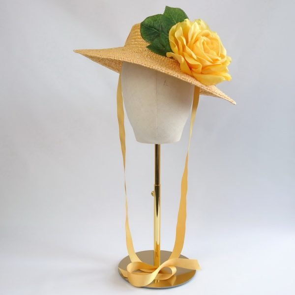 Vintage Style Sun Hat in Yellow with a Detachable Yellow Rose