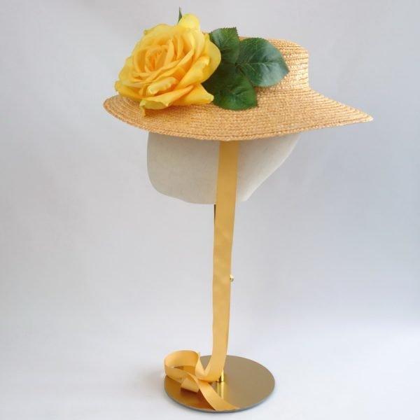 Wedding Hats for Guests in Yellow with a Detachable Yellow Rose