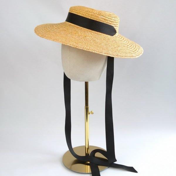 Summer Casual Hat in Yellow with a Detachable Black Ribbon Tie