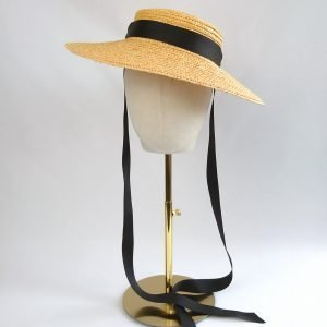 Yellow Straw Boater Sun Hat worn with Black Ribbon Ties