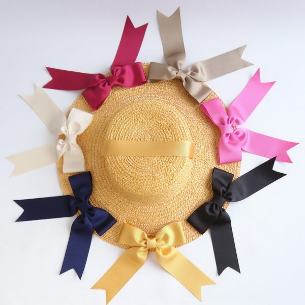 Detachable Ribbon Bows for Sun Hats shown with Yellow Straw
