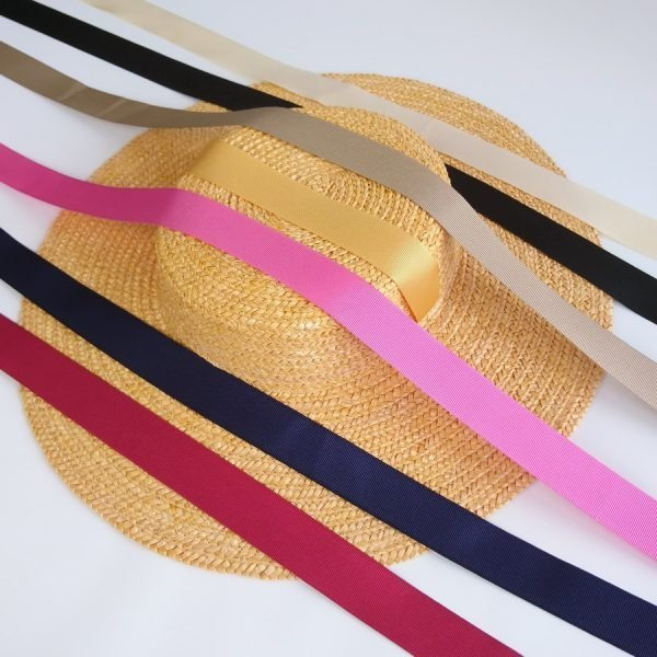 Detachable Ribbon Ties for Sun Hats shown with Yellow Straw