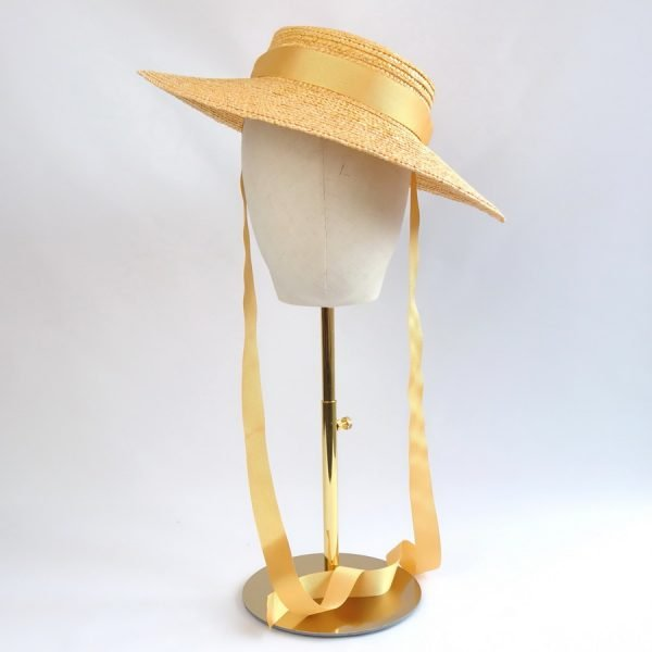 Vintage Style Sun Hat in Yellow with a Detachable Yellow Ribbon Tie