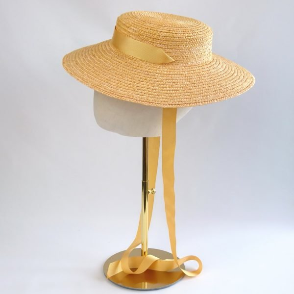 Wedding Hats for Guests in Yellow with a Detachable Yellow Ribbon Tie