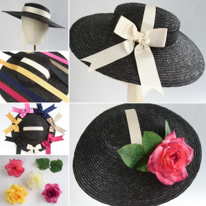 Black Straw Boater Sun Hat Customisation options