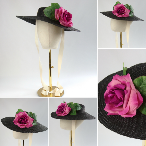 Detachable Dark Pink Rose for Sun Hat shown with Black Straw