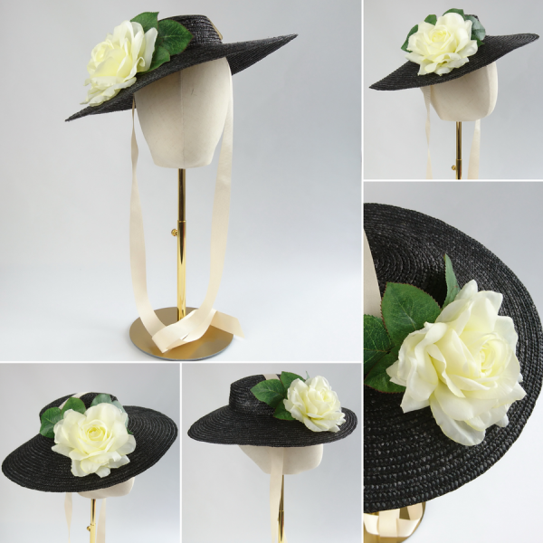 Detachable Ivory Rose for Sun Hat shown with Black Straw