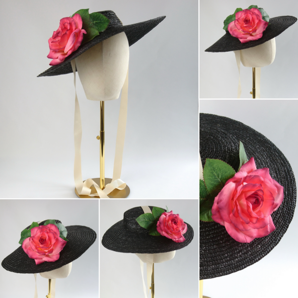 Detachable Pink Rose for Sun Hat shown with Black Straw