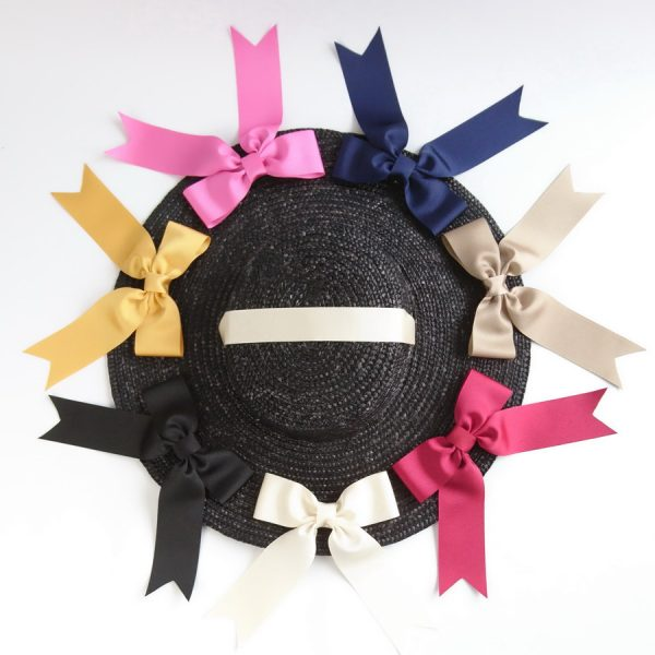 Detachable Ribbon Bows for Sun Hats shown with Black Straw