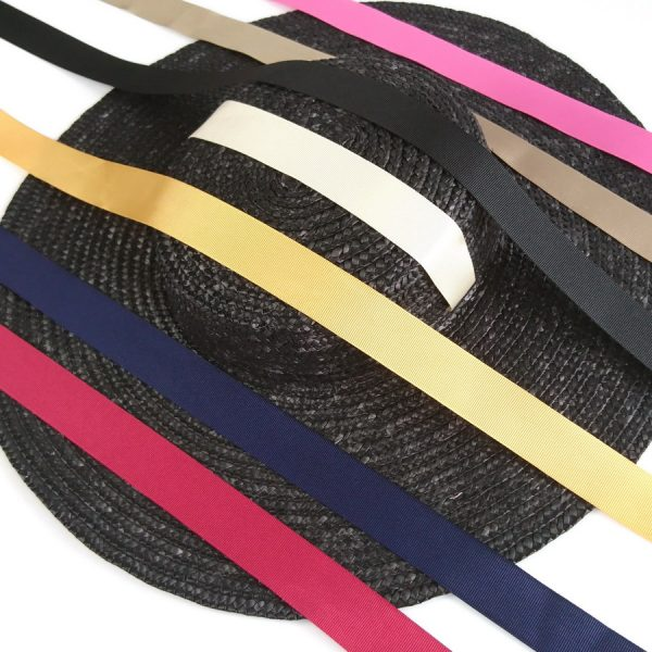 Detachable Ribbon Ties for Sun Hats shown with Black Straw