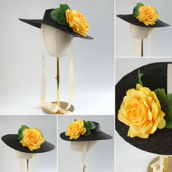 Detachable Yellow Rose for Sun Hat shown with Black Straw