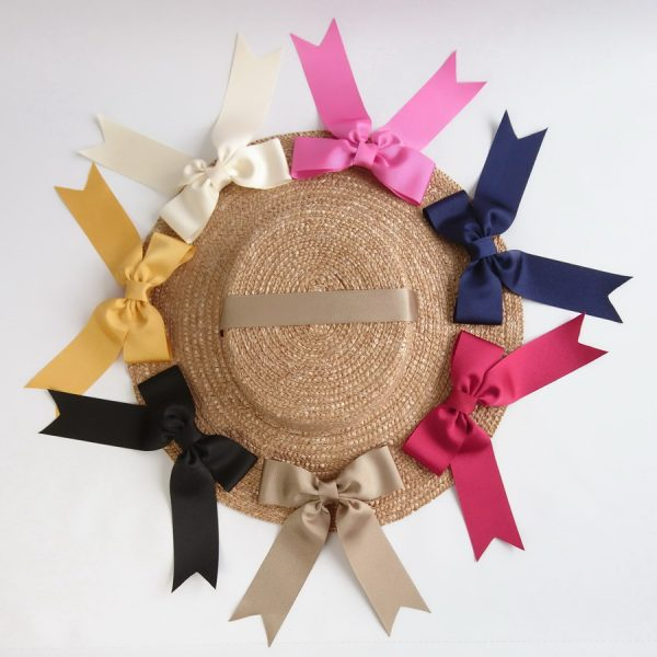 Detachable Ribbon Bows for Sun Hats shown with Gold Straw