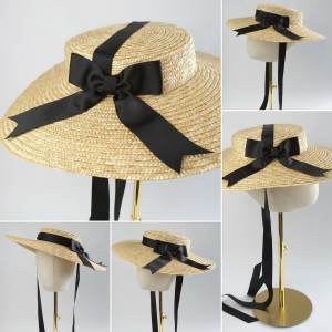 Detachable Black Ribbon Bow for Sun Hat shown with Natural Straw