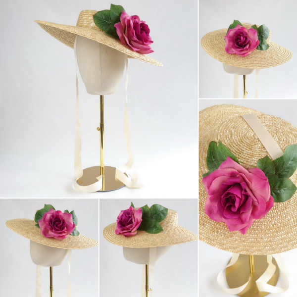 Detachable Dark Pink Rose for Sun Hat shown with Natural Straw