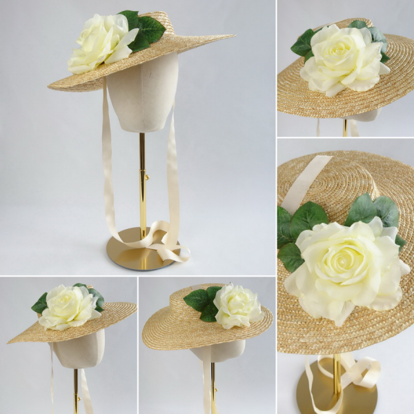 Detachable Ivory Rose for Sun Hat shown with Natural Straw