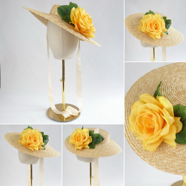 Detachable Yellow Rose for Sun Hat shown with Natural Straw