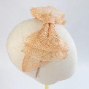 Apricot Large Sinamay Bow Fascinator