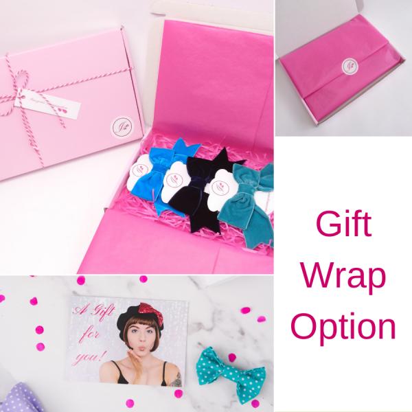 Imogen's Imagination Velvet Ribbon Bow Hair Clips in optional gift wrap packaging