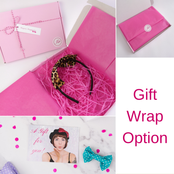 Imogen's Imagination Bow Headband in optional gift wrap packaging