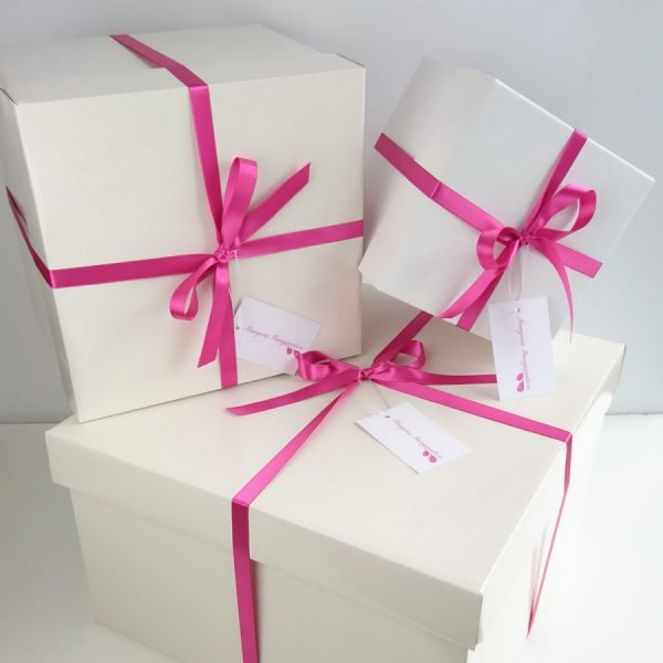 Imogen's Imagination Hat Boxes with Pink Satin Ribbon