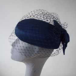 Navy Vintage Hat Re-Trimmed with a Veil