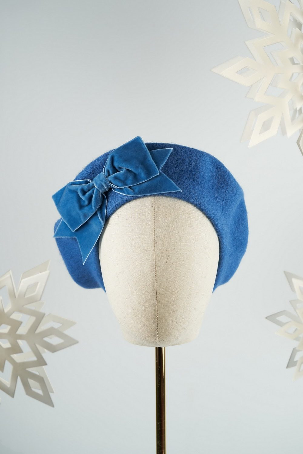Airforce Blue Beret with Blue Velvet Ribbon Bow