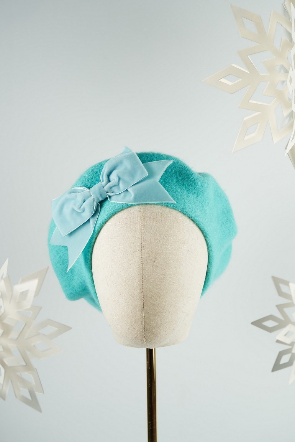 Duck Egg Blue Beret with Blue Velvet Ribbon Bow