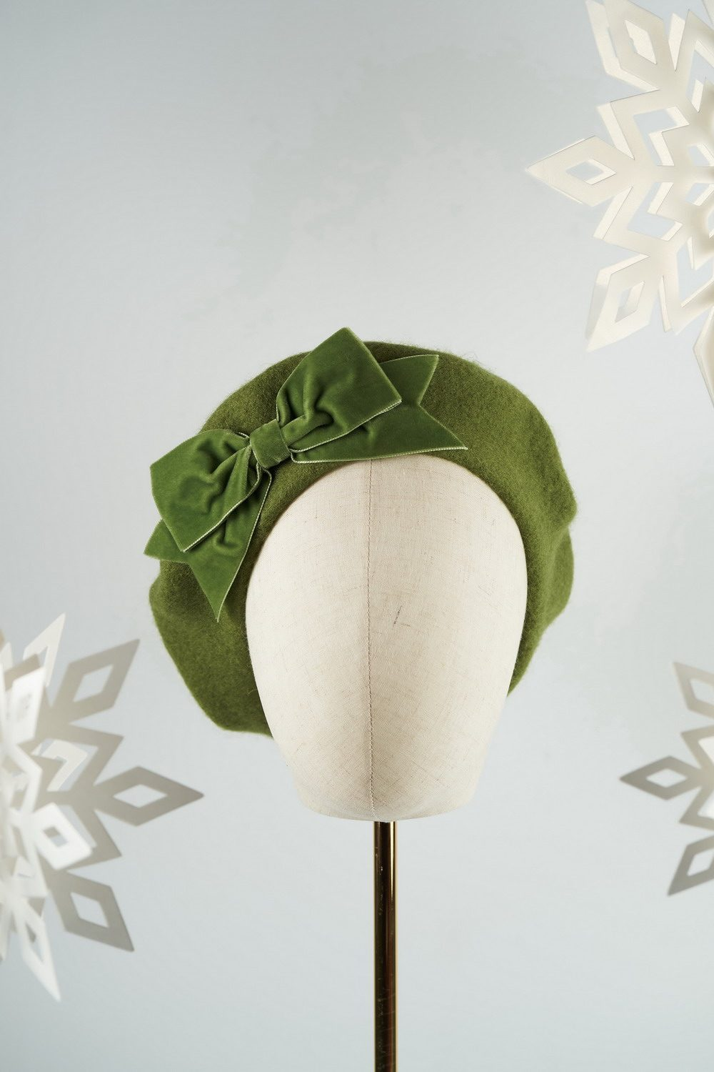 Moss Green Beret with Green Velvet Ribbon Bow