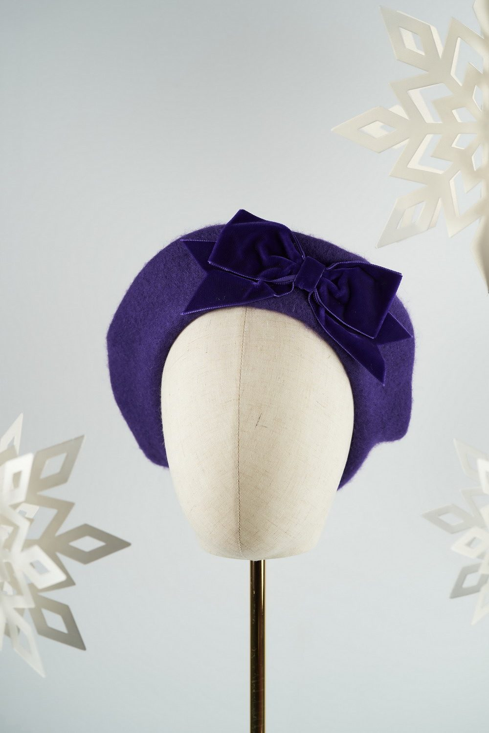 Purple Beret with Purple Velvet Ribbon Bow