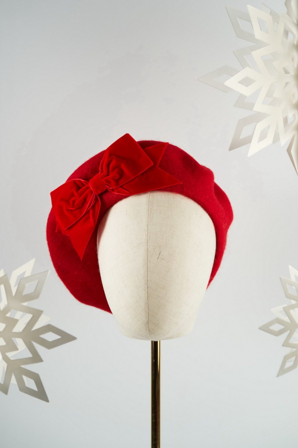 Red Beret with Red Velvet Ribbon Bow