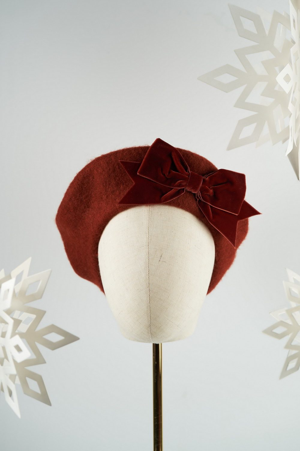 Russet Beret with Russet Velvet Ribbon Bow